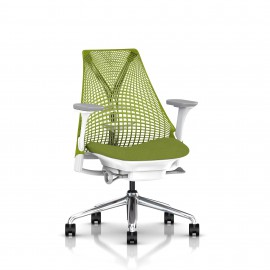 Siège SAYL by Herman Miller structure blanche assise vert kiwi